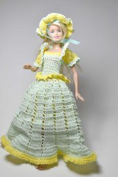 abito vestito barbie pezzo unico bambola uncinetto giocattolo di cotone con cappello e borsa borsetta giacca
