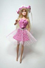 abito vestito barbie pezzo unico corpetto bambola uncinetto giocattolo di cotone con cappello tulle