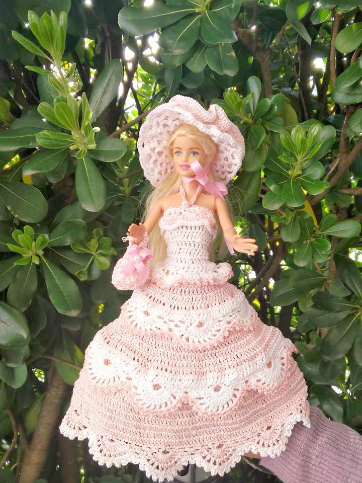 abito vestito barbie pezzo unico bambola uncinetto giocattolo di cotone con cappello borsa mini borsetta