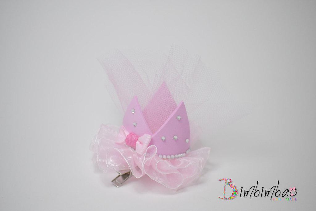 fermaglio fermacapelli principessa corona coroncina con tulle e clips per bambina rosa