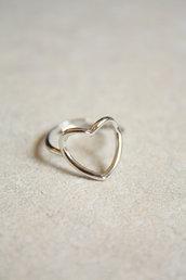 Anello cuore  aperto  in argento 925