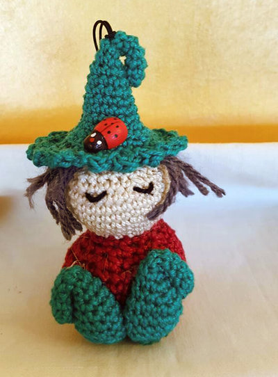 ELFO FOLLETTO PORTACHIAVE AMIGURUMI