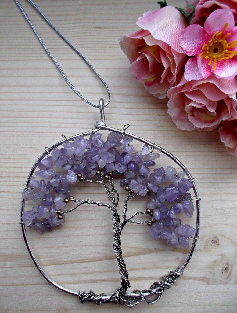 Acchiappasogni albero della vita da appendere. Albero della vita con pietre dure di ametista lavanda e perline