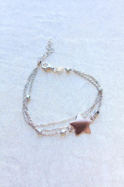 Rosa Bracciale stella d'oro con catena in argento