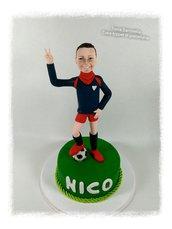 Caricatura cake topper ragazzino calciatore