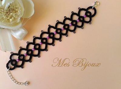 Bracciale pizzo nero moda chiacchierino idea regalo donna ragazza con perline