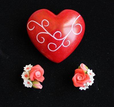 orecchini fiori argilla
