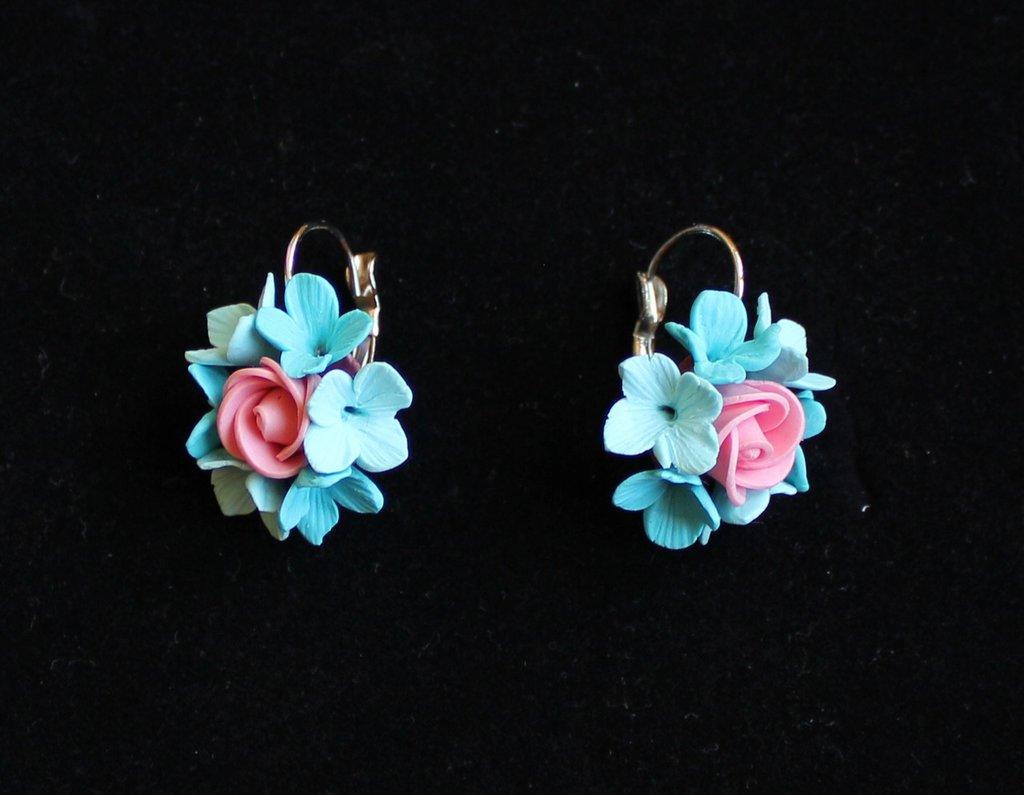 orecchini fiori blue