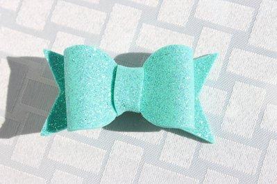 Molletta capelli fiocco verde tiffany glitter