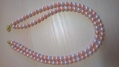 Collana doppio giro perle coltivate rosa