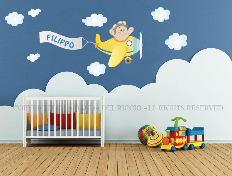 Adesivi murali bambini decorazioni camerette l 39 aeroplano - Adesivi murali per camerette bimbi ...