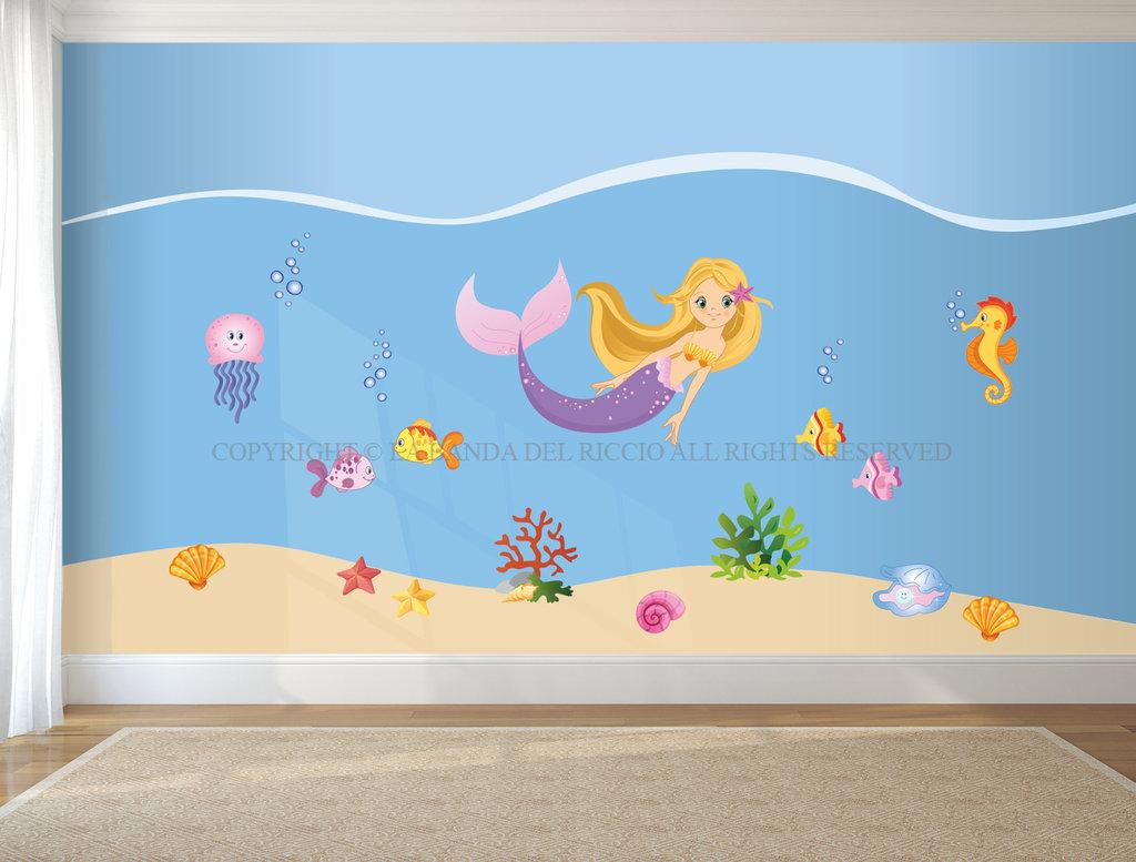 La sirena adesivi da muro per la camera della tua bambina bambini su misshobby - Adesivi per muro cameretta ...