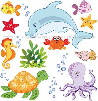 Il mondo marino adesivi da muro per la camera dei tuoi - La camera dei bambini ...