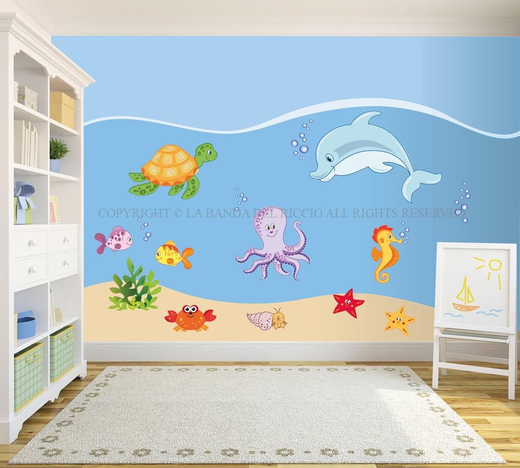 Il mondo marino adesivi da muro per la camera dei tuoi bambini ba su misshobby - Adesivi per muro cameretta ...