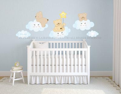 Orsetti sulle nuvole adesivi da muro per la camera dei tuoi bambini