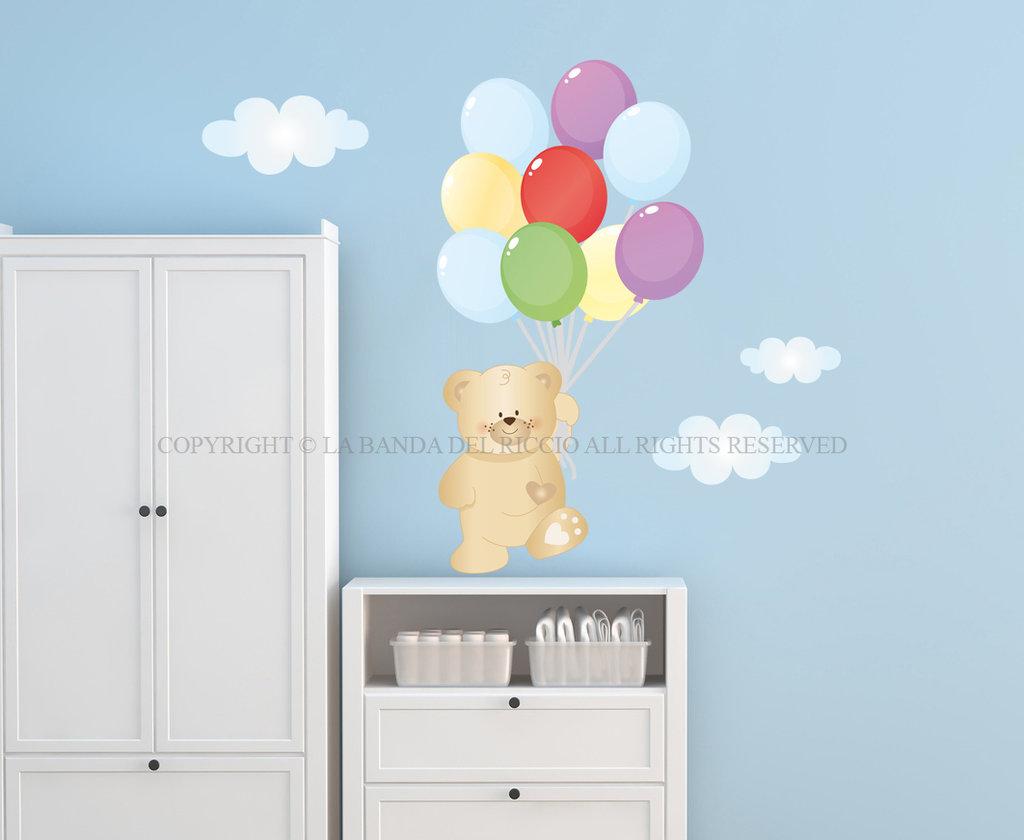 Orsetto con palloncini adesivi murali per bambini for Decorazioni camerette bambini