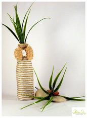 Vaso mono-fiore con corda di canapa e nylon, riciclo creativo