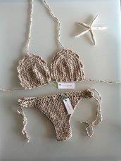 *COMUNICA LA TUA TAGLIA*Bikini uncinetto BEIGE CHIARO brasiliana crochet
