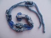collana in carta,filato seta e organza e perle sintetiche,pezzo unico