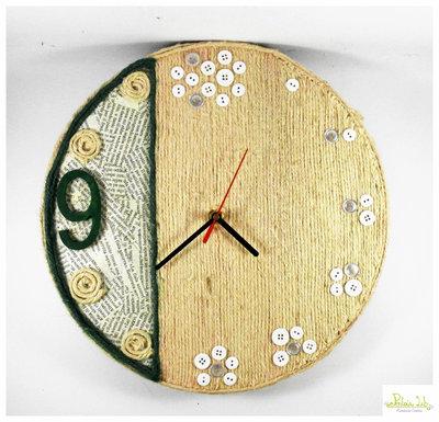 orologio a parete fatto a mano con corde di canapa naturale
