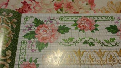 Schemi bordura rose, punto croce, ricamo