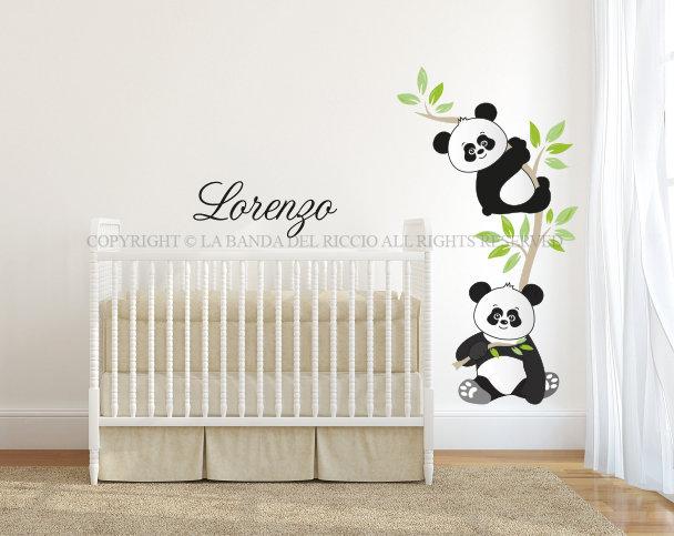 PICCOLI PANDA Adesivi Murali per Bambini con nome personalizzato ...