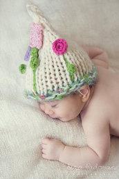 Cappellino per neonata Taglia 3-6 mesi Cappellino per bambina Fatto a mano Accessori neonato
