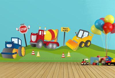 Camion e Ruspe Adesivi murali per camere bambini