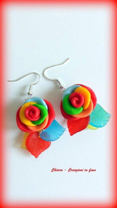 Parure in fimo handmade rose multicolore orecchini anello idea regalo donna