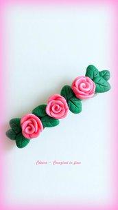 Fermaglio per capelli con decorazione in fimo handmade rose idea regalo donna