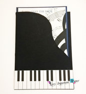 Partecipazione Nozze a tema Musica - Biglietto pianoforte busta