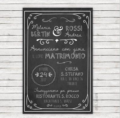 """Partecipazione di nozze """"Blackboard One"""""""