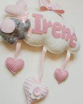 Fiocco nascita- Nuvoletta Irene in feltro
