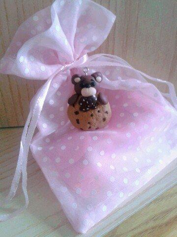 Bomboniera orsetto con biscotto in fimo nascita battesimo compleanno