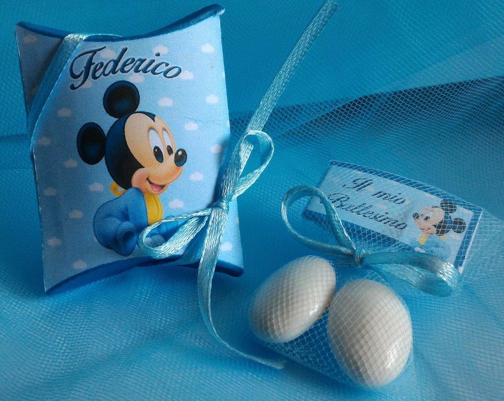 Bomboniera Topolino Baby  Battesimo Nascita Compleanno SEGNAPOSTO 3 CONFETTI