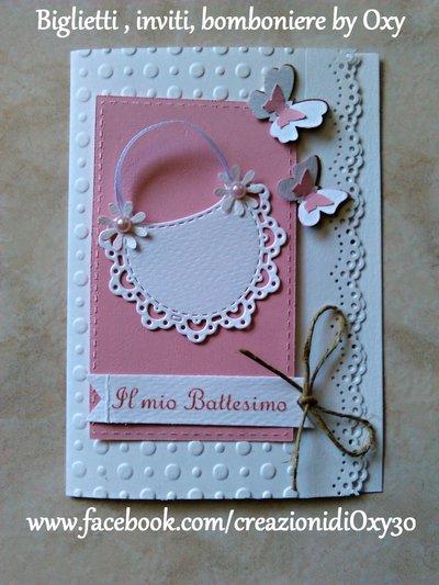 Invito / Battesimo / Nascita / bavaglino / farfalle / rosa.