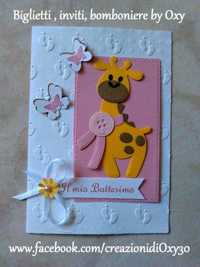 Invito / Battesimo / Nascita / giraffa / farfalle / rosa.