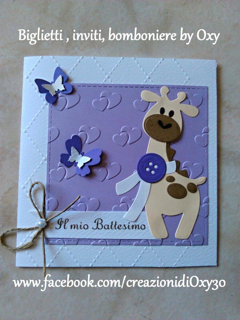 Invito / Battesimo / Nascita / giraffa / farfalle / lilla.