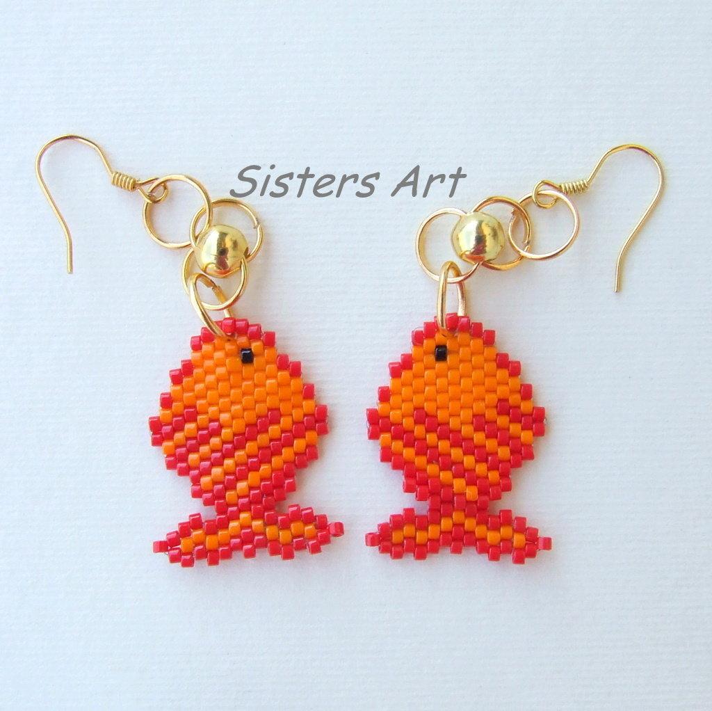 """Orecchini """"Pesce rosso"""" realizzati con perline Miyuki delica"""
