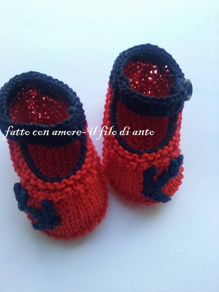 Scarpine neonato/ neonata rosse in stile marinaro
