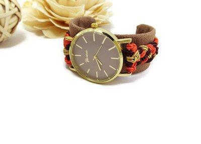 Orologio da polso rigido marrone da donna fatto di tessuto / Ricamo con treccia cordoncino Soutache