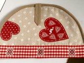 Porta piada handmade- scaldapiada con grandi cuori rossi