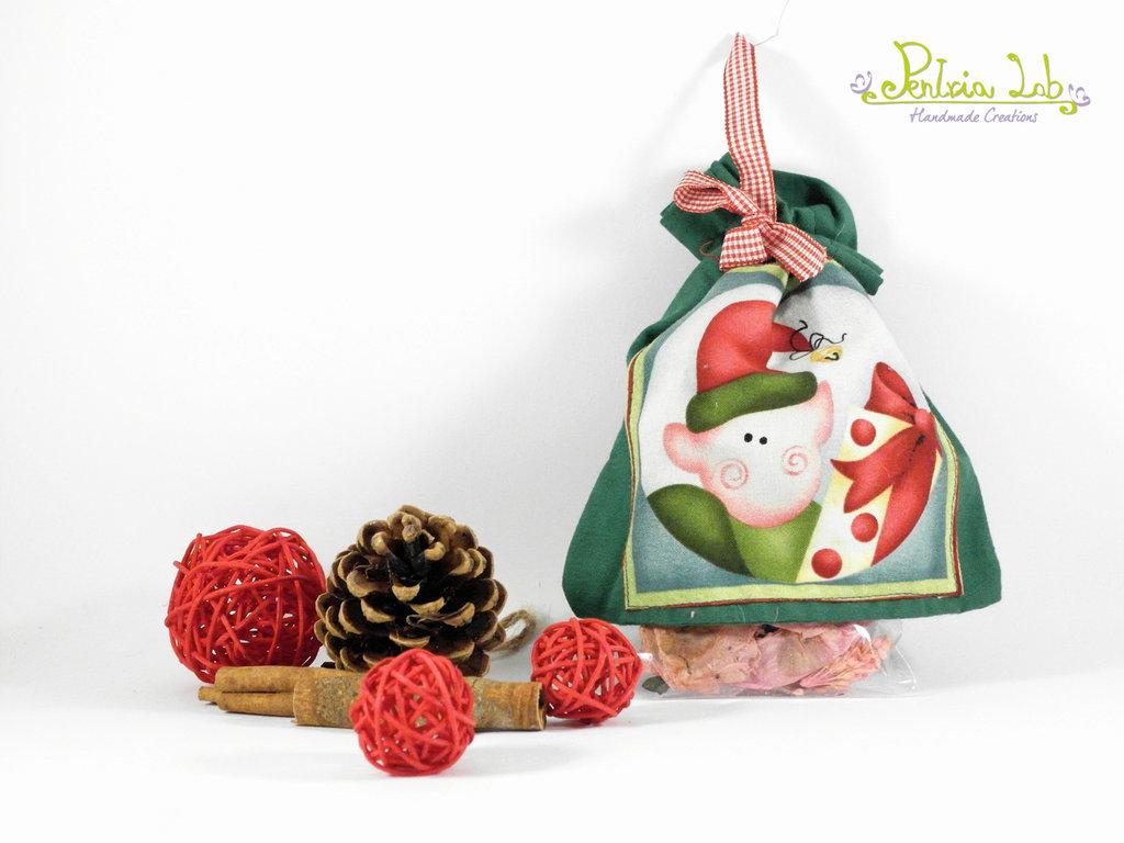 Sacchetto multiuso, porta potpourri con soggetto natalizio, stile country. 6 soggetti diversi