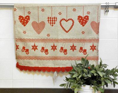 Asciugapiatti in tessuto 100% cotone, fantasia natalizia, con merletto fatto a mano ad uncinetto