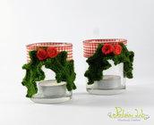 porta tealight in vetro con decorazione vischio fatta a mano ad uncinetto.