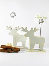 portafoto a forma di renna, colore bianco o verde- grigio chiaro, in legno di recupero - riciclo creativo