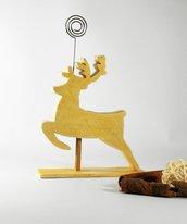 portafoto a forma di renna, colore oro, in legno di recupero riciclo creativo