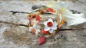 Bracciale fiore narciso pietre dure vetro avvolgibile