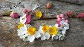 Bracciale fiori bouquet narcisi viole del pensiero fimo pasta polimerica acciaio anallergico