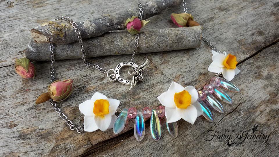 Collana narcisi riflessi aurora boreale bijoux gioielli fiori natura